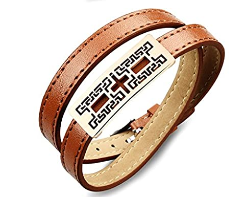 Synthesis Leather Geometric Patterns Hollow Bracelets Brown&Silver Width 20*1cm,11g For Men By