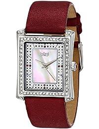 Burgi Reloj de cristal de cuarzo suizo, nácar, correa de piel de Borgoña para Mujer