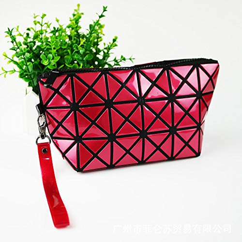 Simple Soft Wild Wallet Geometric Folding Handbags Ladies Messenger Bagmulticolor Optional Red Wine 28.0x20.0 x3.0 cm - Optional Travel Pack