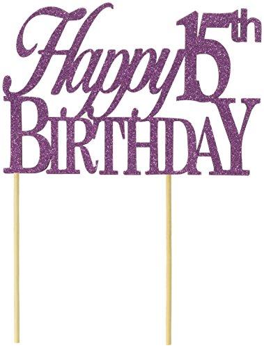 All About Details Tortenaufsatz Happy 15th Birthday, Violett - 4 Violetten Schimmer