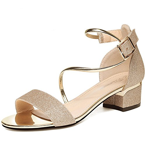 Sandalen Damenschuhe PU Frühling Sommer Chunky Heel Peep Toe für Party & Abend Gold, Silber stilvoll (Farbe : Gold, größe : EU36/UK4/CN36) Pu Chunky Heel