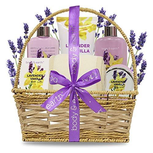 Spa-Kit für Frauen, Body&Earth 7 Pcs Badeset mit Lavendel & Vanille Duft, Enthält Duschgel, Schaumbad, Body Lotion, Körperpeeling und Badesalz, Geburtstagsgeschenke für Frauen -