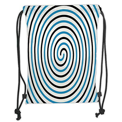 Drawstring Backpacks Bags, Spiers Decor, Turning Curve Winds Fixed at Center Spiral Conic Helix Figure Hypnotic Image, Blue Black Soft Satin, 5 Liter Capacity, Adjustable String Closure