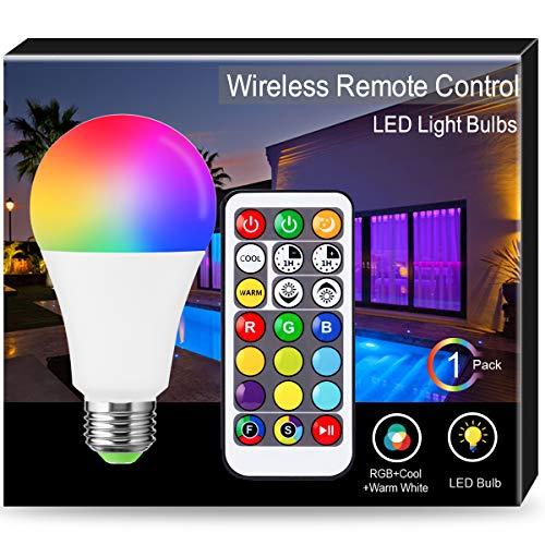 1er 16W Farbwechsel-Glühbirne, Techgomade A65 E27 Warmweiß+Kaltweiß RGB-Glühlampen, 100W-Äquivalent, 1400LM, Dual Memory, LED-Fernbedienung für Wohnkultur, Stimmungsbeleuchtung, Party -