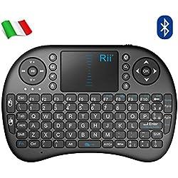Rii Mini i8 Bluetooth (Layout Italiano) - Mini Tastiera con Mouse touchpad per Tablet, Smartphone, Mini PC, Computer, Playstation, HTPC