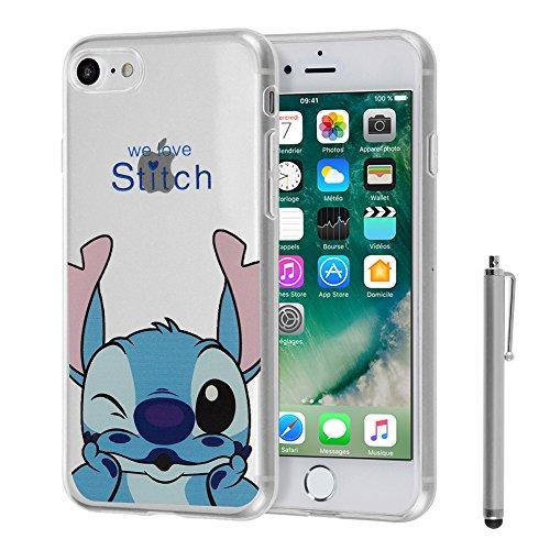 """VComp-Shop® Transparente Silikon TPU Handy Schutzhülle mit Motiv Cartoon Disney für Apple iPhone 7 4.7"""" + GRATIS Displayschutzfolie - Winnie the Pooh Stitch + Großer Eingabestift"""