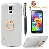 White : Badalink Galaxy S5 Case 360 Degree Rotating Ring Holder Kickstand Shockproof Drop Protection TPU Flexible Bumper with Detachable Shiny Shell Slim-Fit Protective Cover for Samsung Galaxy S5 - White