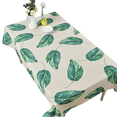 Leinen Quadratische Tischdecke Weiße (Grüne Pflanze Tischdecke Blätter Bild Tischdecke Baumwolle Und Leinen Garten Wohnzimmer Couchtisch Schutzhülle Runde Tisch Rechteckige Tischdecke,100*140Cm)
