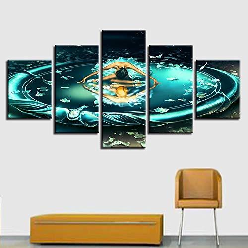 lsweia Holzrahmen/Poster Kunst HD Druck 5 Stücke Gemini Constellation Leinwand Malerei Modulare Bild Kunstwerke Decor Home Wohnzimmer Wand