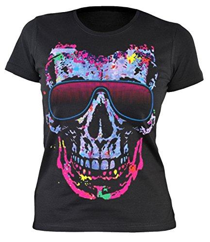 Damen T-Shirt, Girlieshirt mit coolen Totenkopf - Shady Character (Farbige T-shirts)