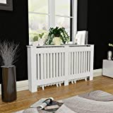 Anself White MDF Radiator Cover Heating Cabinet 152 cm