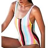 Costume da bagno donna intero sexy Un pezzo Arcobaleno Bikini mare push up fascia Flessione sulle braccia Imbottito Costumi da bagno Swimwear Swimsuit Beachwear (Rosso, S)