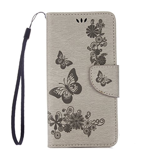 BONROY® Book Style PU Cuir Portefeuille Etui pour iPhone 5 5S 5SE PU Cuir Flip Magnétique Portefeuille Etui Housse de Protection Coque Étui Case Cover Portefeuille Fentes pour Cartes Cover Ultra Slim  Wiko Jerry-Grey2