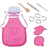 Kids Chef Set, Scoolr 11pcs Cooking Play Set Kitchen Role Play Set with Dress up Costume and Kitchen Accessories, Chef Hat for Girls