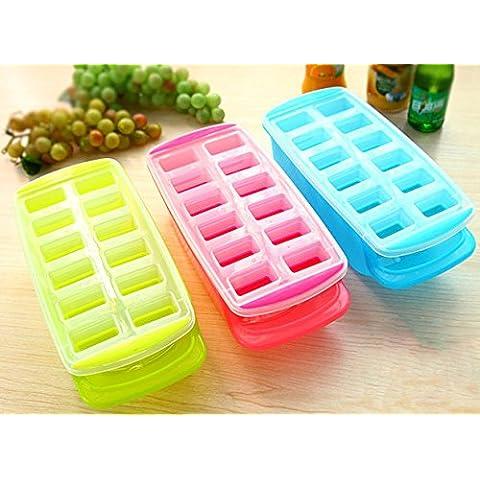 DINHAND 12cubetti di ghiaccio cubetti di ghiaccio pop out a pressione facile con fondo in silicone flessibile, sfoderabile, colore casuale