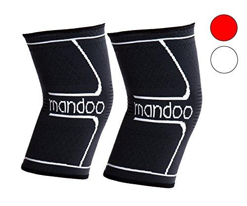 mandoo Profi atmungsaktive Kniebandage (2er Set) für mehr Stabilität - sportliche Kniestütze zum Sport, nach Operationen und zum Auskurieren - hochwertige Kompressionsbandage - 2 Jahre Garantie