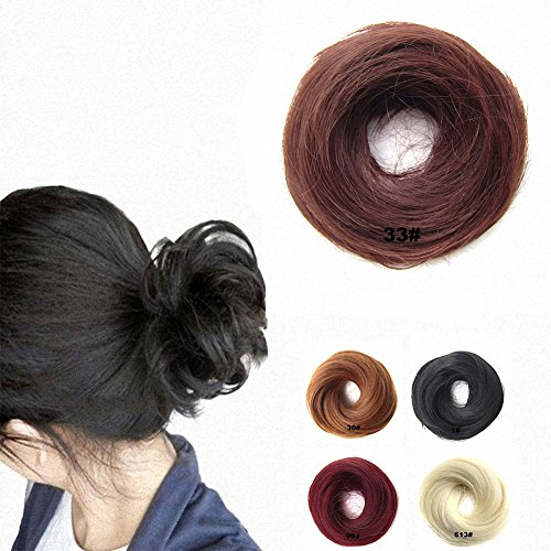 Extensiones postizas con goma elástica FESHFEN para cabello despeinado, moño, coleta, extensiones, pelucas - 1# Negro