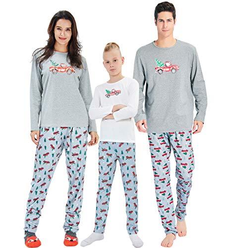 AIDEAONE Passende Weihnachten Pyjama Set Langarm-Shirt und Lange Hosen Nachtwäsche für Familie Mutter S