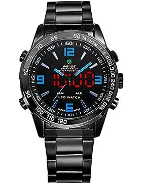 Alienwork DualTime LED Analog-Digital Armbanduhr Multi-funktion Uhr schwarz Edelstahl OS.WH-1009-B-5