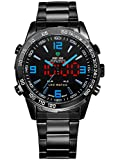 Alienwork DualTime LED Analogue-Digital Watch Multi-function Wristwatch Stainless Steel black black OS.WH-1009-B-5