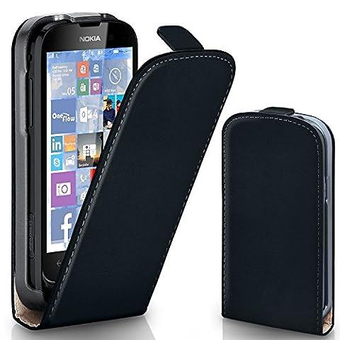 Pochette OneFlow pour Nokia Lumia 610 housse Cover magnétique | Flip Case étui housse téléphone portable à rabat | Pochette téléphone portable téléphone portable protection bumper housse de protection avec coque en DEEP-BLACK