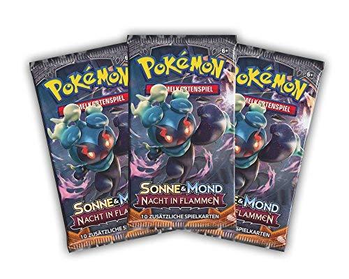 Sonne und Mond - Nacht in Flammen Pokemon 3 Booster Packungen als Set - Deutsche Ausgabe