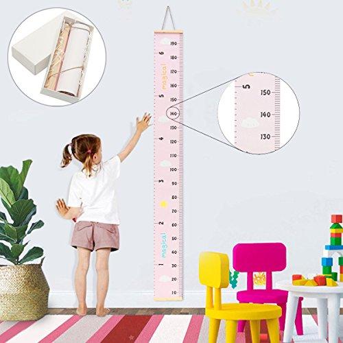 Jeteven Messlatte Tragbare aufrollbar Segeltuch und Holz Messlatte Höhe Diagramm um Kinder von der Geburt bis zum Erwachsenenalter,20x200cm Kinderzimmer Dekor (B) - Diagramm Hören