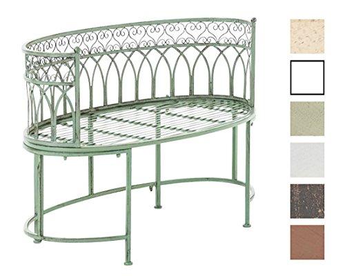 CLP Metall-Gartenbank AMANTI mit Armlehne, Landhaus-Stil, Eisen lackiert, Design antik nostalgisch, Form oval ca. 110 x 55 cm Antik Grün