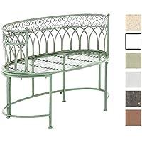CLP Nostalgica panca da giardino in metallo AMANTI, stile rustico, in ferro laccato, design rétro,ovale, ca. 110 x 55 cm. verde antico