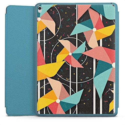 DeinDesign Smart Case hellblau kompatibel mit Apple iPad Pro 12.9 (2017) Hülle Tasche mit Ständer Smart Cover Windrad Pattern Muster - Windrad-tasche
