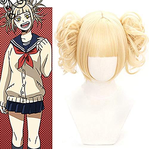 Saicowordist My Hero Academia Anime Cosplay Perücke Himiko Toga Neuheit Milch-Gold Hochtemperaturseide Teenager Mädchen Perücke Anime Fans Geschenk (Toga Für Mädchen)