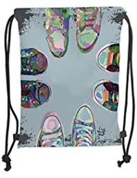 GONIESA Drawstring Sack Backpacks Bags,Modern Decor,Teen Rubber Rebel Rocker Shoes in Street