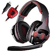 GH SADES SA903 7.1 Surround Sound Stereo Pro USB de la PC Gaming Headset Auriculares diadema con micrófono Deep Bass Over-the-Ear Control de Volumen LED Luces (Negro)