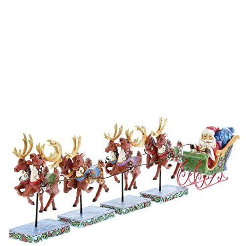Creek Schlitten (Heartwood Creek Dash Away All-Mini Santa & Reindeers Figurine Set, RESIN, Multicolour, 4.5 x 38 x 11.5 cm)