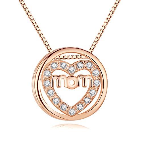 Oneck collana da donna in argento sterlina 925 con pendente di zircone regalo ideale per donna con confezione elegante per mamma mum-bianco,oro rosa (oro rosa mum)