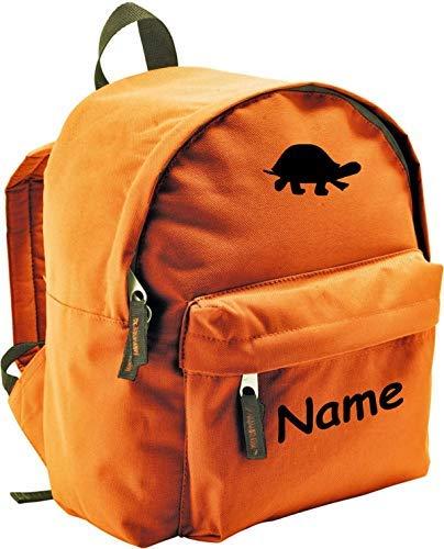 ShirtInStyle Kinder Rucksack Schildkröte, mit Name veredelt, ideal für Kita, Farbe orange