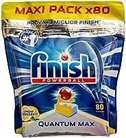 كبسولات تنظيف الاطباق فينيش كوانتوم ماكس، يحتوي على 80 كبسولة تنظيف برائحة الليمون