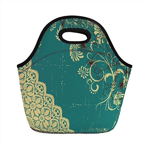 Portable Bento Lunch Bag,Vintage,Retro Abstract Image with Modern Backdrop and Lace and Floral Frame Print,White and Jade Green,for Kids Adult Thermal Insulated Tote Bags