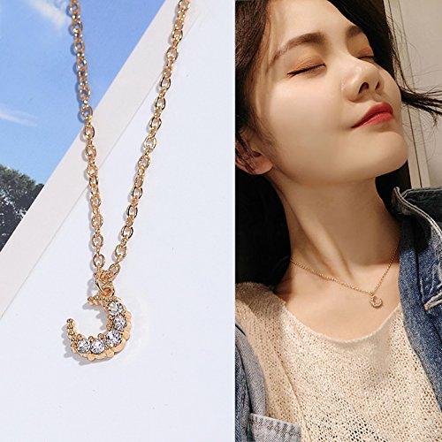 Meteoriten Parfüm (WTTCD Damen Halskette Damen Halskette Anhänger 925 Einfache Und Großzügige Kristall Mond Halskette Schlüsselbein Kette Kurzen Abschnitt, Mond Meteorit)