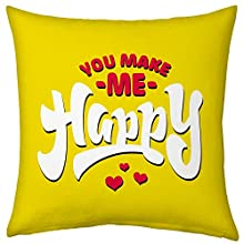 Valentine Gifts for Boyfriend Girlfriend Love Printed Cushion 12X12 Filled Pillow Yellow You Make Me Happy Gift for Him Her Fiance Spouse Birthday Anniversary Everyday
