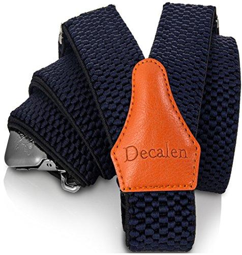 Decalen bretelle uomo eleganti extra forte clip taglia unica per uomini e donne grandi e alti larghezza regolabile di 4 cm e forma a y elastica (blu navy 1)