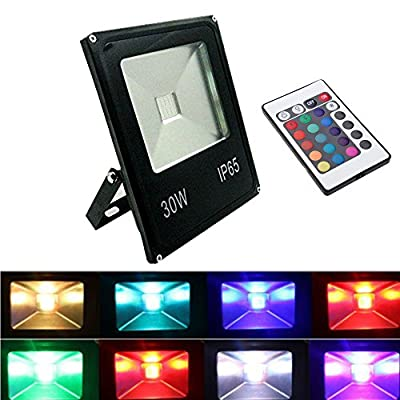 GLW® Remote Control 30W RGB LED Floodlights, Colour Changing LED Security Light, 16 Colours & 4 Modes, Waterproof LED Floodlight, Decorative lamp,Wall Washer Light
