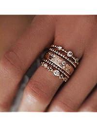 6f27521c485a Lomelomme Joyería Anillo Mujer Nueva moda de oro rosa anillo apilable 10  anillos de oro brillante