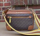 Michael Kors Travel Top Handle Camera Bag Crossbody Braun Acorn Signature