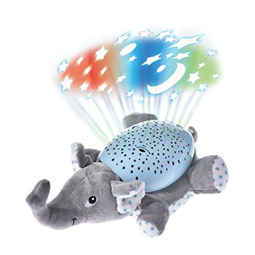 Pueri LED Sternenhimmel-Projektor Leucht Plüsch Spielzeug Nachtlicht Lampe Einschlafhilfe für Baby Kinder (A)