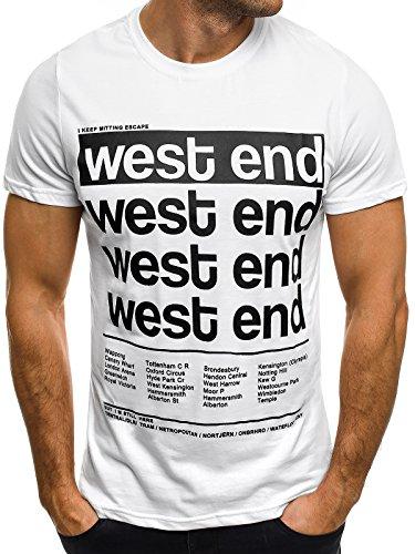 OZONEE Herren T-Shirt mit Motiv Kurzarm Rundhals Figurbetont J.STYLE SS179 Weiß_J.STYLE-SS170