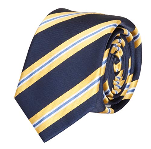 Fabio Farini Schlips Krawatte Krawatten Binder 6cm dunkelblau gelb gestreift