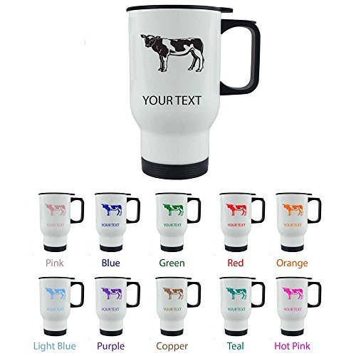 Personalized Custom Cow 14 oz White Stainless Steel Sublimation Coffee Travel Mug for Holiday Gift or Present! Contact Seller for Custom Text/Color or Leave a Gift Message at Checkout! by CustomGiftsNow