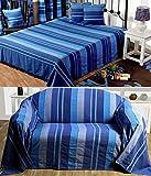 Homescapes waschbare Tagesdecke Sofaüberwurf Überwurfdecke Morocco 225 x 255 cm in Streifen-Design Bettüberwurf aus 100% reiner Baumwolle in Blau
