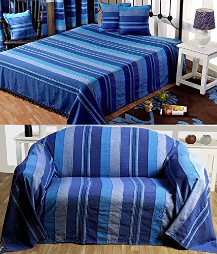 Homescapes waschbare Tagesdecke Sofaüberwurf Überwurfdecke Morocco 225 x 255 cm in Strei